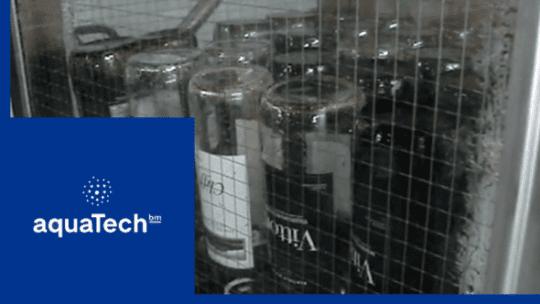 Wine bottle washing video